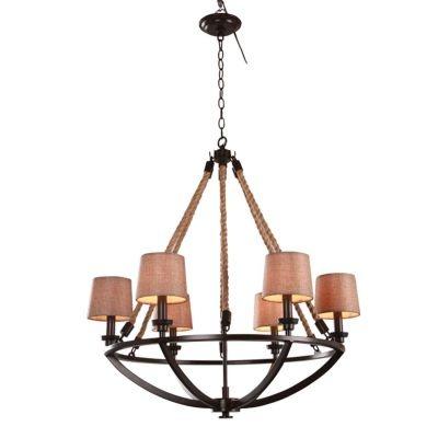Lustre Bella Iluminação Anchor Metal Corda 8 Cupulas Tecido Bege 112x107cm 8 E14 Iluminação BO005 Sala Estar Saguão
