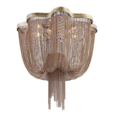 Lustre Bella Iluminação Ária Imperial Correntes Metal Bronze 40x60cm 6 E14 110v 220v Bivolt WD015B Saguão Hall