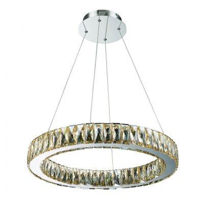 Lustre Bella Iluminação Aura LED Cristal K9 Champagne Metal Cromo Ø60cm 1 LED 32W 110v 220v Bivolt WE001A Mesa Jantar  Cozinhas