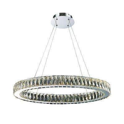 Lustre Bella Iluminação Aura LED Cristal K9 Translucido Metal Cromo 50x80cm 1 LED 32W 110v 220v Bivolt WE002C Mesa Jantar  Sala Estar