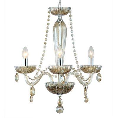 Lustre Bella Iluminação Candelabro Anjou Metal Vidro Champagne 54x42cm 3 E14 110v 220v Bivolt JF013A Sala Estar Hall