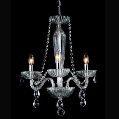 Lustre Bella Iluminação Candelabro Anjou Metal Vidro Translucido 54x42cm 3 E14 110v 220v Bivolt JF013C Sala Estar Hall