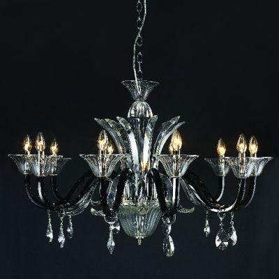 Lustre Bella Iluminação Candelabro Chambord Cristal K9 Translucido 65x100cm 10 E14 110v 220v Bivolt LS201-10B Sala Estar Hall
