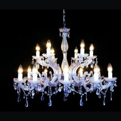 Lustre Bella Iluminação Candelabro Duchessa 18 Braços Vidro Acrílico 75x84cm 18 E14 110v 220v Bivolt KH10618 Saguão Hall
