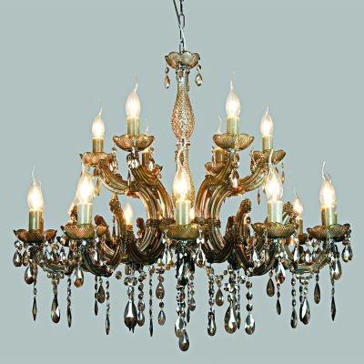 Lustre Bella Iluminação Candelabro Duchessa 18 Braços Vidro Âmbar 75x84cm 18 E14 110v 220v Bivolt KH10618C Saguão Hall