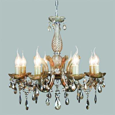 Lustre Bella Iluminação Candelabro Duchessa 8 Braços Vidro Âmbar 56x56cm 8 E14 110v 220v Bivolt KH1068C Saguão Hall