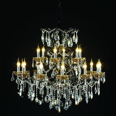 Lustre Bella Iluminação Candelabro Gallery 18 Braços Cristal K9 Vidro 95x97cm 18 E14 110v 220v Bivolt LL2642-18 Saguão Hall