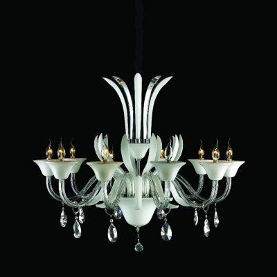 Lustre Bella Iluminação Candelabro Gallery Cristal K9 Vidro Branco 65x100cm 10 E14 110v 220v Bivolt LS202-10W Saguão Hall