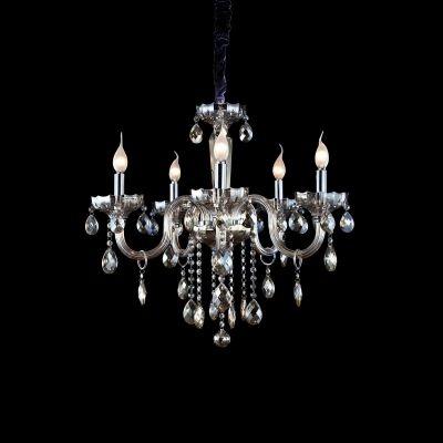 Lustre Bella Iluminação Candelabro Princess 5 Braços Cristal K9 Conhaque 63x61cm 5 E14 110v 220v Bivolt HU2095A Sala Estar Saguão
