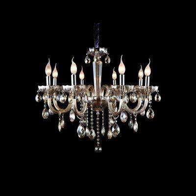 Lustre Bella Iluminação Candelabro Princess 8 Braços Conhaque 63x61cm 8 E14 110v 220v Bivolt HU2098A Sala Estar Saguão