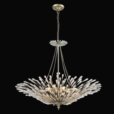 Lustre Bella Iluminação Deco Pêndulo Cristal K9 Metal Prata Envelhecido 79x94cm 8 E14 110v 220v Bivolt BO002 Saguão Hall