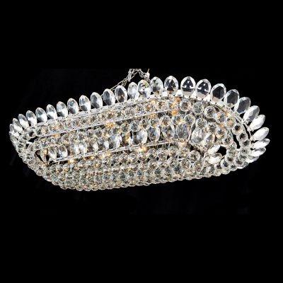 Lustre Bella Iluminação Eze Metal Cromo Cristal K9 Translucido 50x110cm 16 E14 40w 110v 220v Bivolt AQ006 Sala Estar Hall