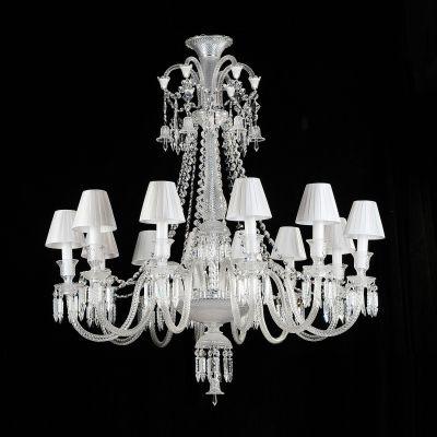 Lustre Bella Iluminação Gallery Candelabro Cristal K9 Vidro Branco 110x108cm 12 E14 110v 220v Bivolt BW1312C Saguão Hall