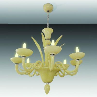 Lustre Bella Iluminação Gallery Candelabro Maria Tereza Vidro Bege 75x92cm 8 E14 110v 220v Bivolt CP8140-8BG Sala Estar Hall