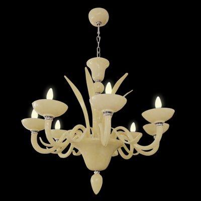 Lustre Bella Iluminação Gallery Candelabro Maria Tereza Vidro Bege 80x125cm 12 E14 110v 220v Bivolt CP8140-12BG Sala Estar Hall
