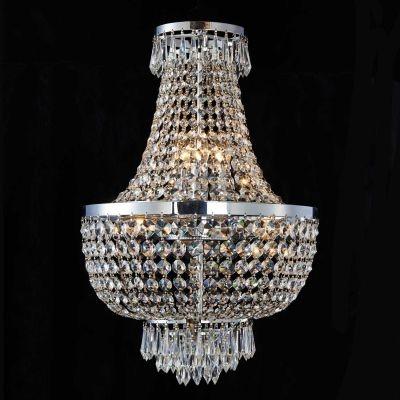 Lustre Bella Iluminação Imperio Metal Cromo Cristal K9 Translucido 62x40cm 6 E14 110v 220v Bivolt AQ021 Sala Estar Hall