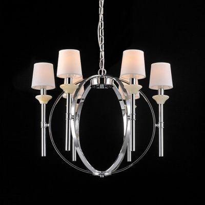 Lustre Bella Iluminação Madison Aramado Metal Cromo Tecido 58x70cm 6 E14 110v 220v Bivolt UD007 Saguão Sala Estar