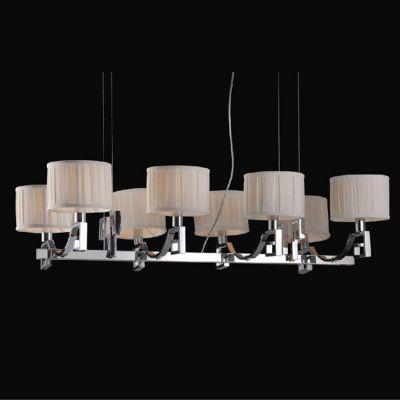 Lustre Bella Iluminação Madison Metal Cromo 8 Cupulas Tecido Creme 30x108cm 8 E14 110v 220v Bivolt UD010 Sala Estar Hall