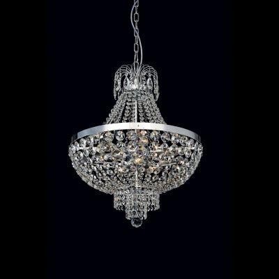 Lustre Bella Iluminação Metal Cromo Cristal K9 Translucido 73x70cm 12 E14 40w 110v 220v Bivolt AQ007L Sala Estar Hall