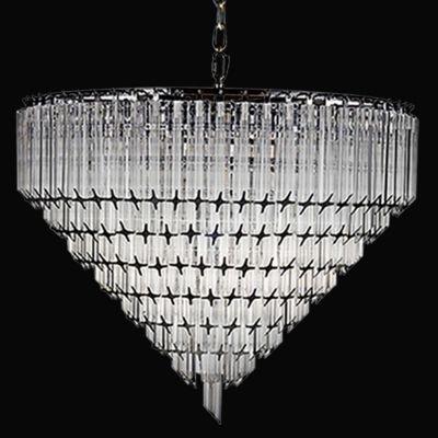 Lustre Bella Iluminação Opus Metal Cromo Cristal K9 Translucido 50x62cm 6 E14 110v 220v Bivolt BM006 Saguão Hall
