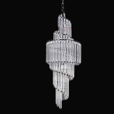 Lustre Bella Iluminação Opus Pêndulo Cromo Cristal K9 Translucido 124x41cm 11 E14 110v 220v Bivolt BM008 Saguão Hall