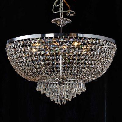 Lustre Bella Iluminação Reino Imperial Cromo Cristal K9 Translucido 54x70cm 8 E14 110v 220v Bivolt AQ020 Sala Estar Saguão