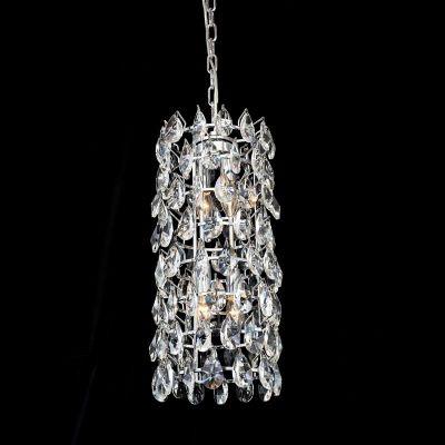 Lustre Bella Iluminação Strauss Redondo Cromo Cristal K9 Translucido 55x25cm 4 E14 40w 110v 220v Bivolt AQ003 Sala Estar Hall