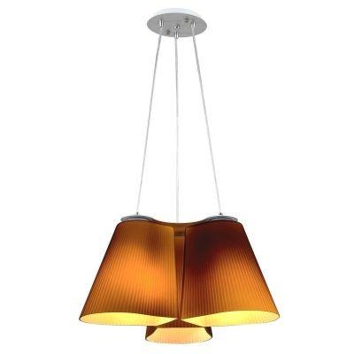 Lustre Bella Iluminação Tri Pêndulo Cupula Vidro Café Metal Prata 20x47cm 3 E27 110v 220v Bivolt ZD001C Sala Estar Cozinhas