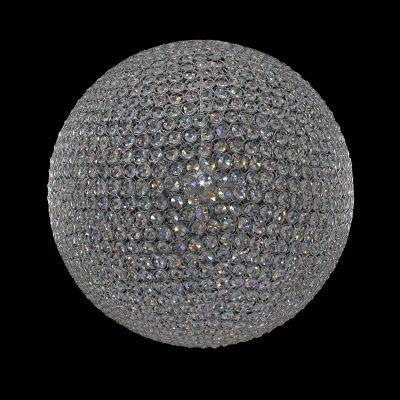 Lustre Bella Iluminação Tribeca Esfera Cromo Cristal K9 40x40cm 6 G9 Halopin 40W AQ010S Sala Estar Saguão