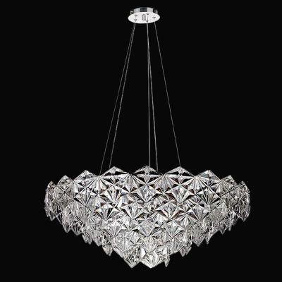 Lustre Bella Iluminação Zara Horizontal Metal Cromo Vidro Translucido 35x80cm 9 E14 110v 220v Bivolt BM002C Saguão Hall