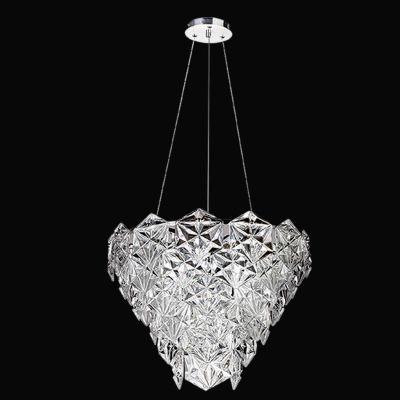 Lustre Bella Iluminação Zara Metal Cromo Vidro Translucido 40x50cm 6 E14 110v 220v Bivolt BM001C Saguão Hall