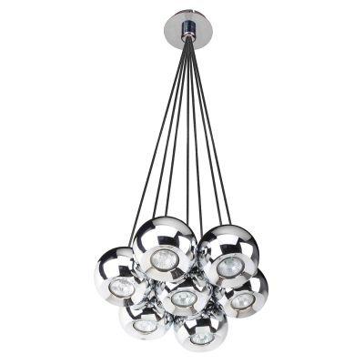 Pendente Bella Iluminação Aco 5 Esferas Redondo Metal Cromo 30x23cm 7 GU10 Dicróica FH017 Sala Estar Hall