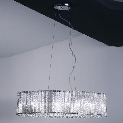 Pendente Bella Iluminação Adagio Metal Retangular Cristal K9 20x80cm 6 G9 Halopin 110v 220v Bivolt HO208 Saguão Hall