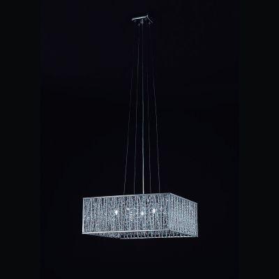 Pendente Bella Iluminação Adágio Quadrado Metal Cristal K9 50x50cm 5 G9 Halopin 110v 220v Bivolt HO021 Saguão Quartos
