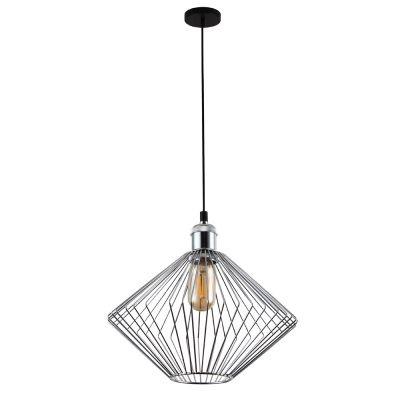 Pendente Bella Iluminação Aramado Nest Suspenso Metal Cromo 26x30cm 1 E27 40W 110v 220v Bivolt PD014C Sala Estar Saguão