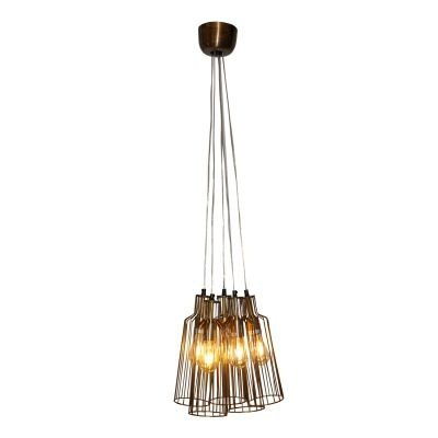 Pendente Bella Iluminação Aramado Suria 5 Tubos Metal Ouro Velho 38x12cm 5 E27 110v 220v Bivolt PEI0012BO Sala Estar Cozinhas