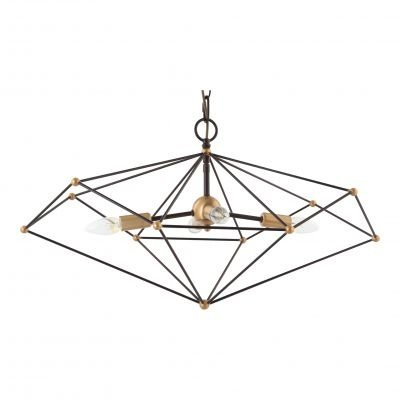 Pendente Bella Iluminação Axis Aramado Horizontal Metal Bronze 38x40cm 4 E14 40W 110v 220v Bivolt KF003L Saguão Hall