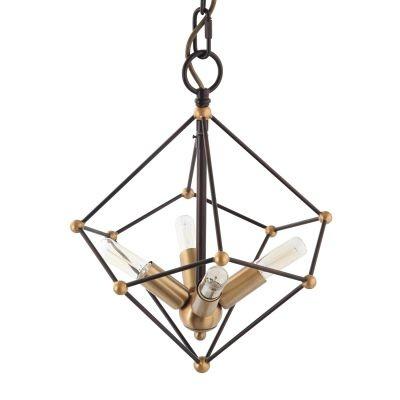 Pendente Bella Iluminação Axis Aramado Suspenso Metal Bronze 38x31,9cm 4 E14 40W 110v 220v Bivolt KF003S Saguão Hall