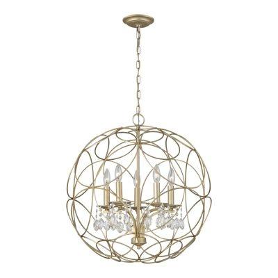 Pendente Bella Iluminação Balle Cristal K9 Metal Prata Envelhecido 64x58cm 5 E14 40W BO009 Saguão Hall