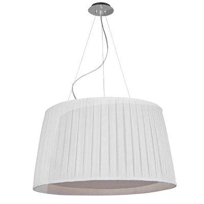 Pendente Bella Iluminação Bari Base Metal Cupula Tecido Branco Ø65cm 3 E27 110v 220v Bivolt HU2065 Quartos Corredores