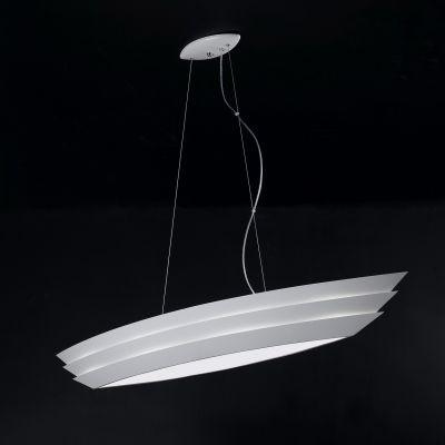 Pendente Bella Iluminação Boat Horizontal Metal Vidro Branco 30x150cm 6 E27 110v 220v Bivolt HO076 Sala Estar Hall
