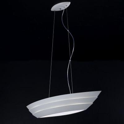 Pendente Bella Iluminação Boat Horizontal Metal Vidro Branco 30x98cm 3 E27 110v 220v Bivolt HO074 Sala Estar Hall