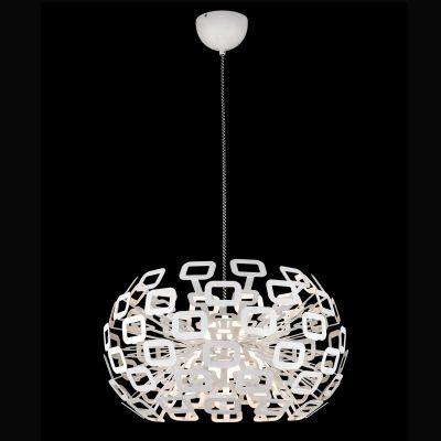 Pendente Bella Iluminação Bobe LED Metal Vidro Branco 50x61cm LED 45W 110v 220v Bivolt HO100M Saguão Quartos