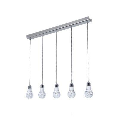 Pendente Bella Iluminação Bolha 5x Horizontal LED Metal Acrílico 15x80cm 5 LED 110v 220v Bivolt HO079 Cozinhas Saguão