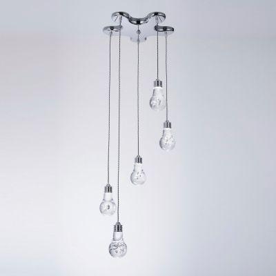 Pendente Bella Iluminação Bolha 5x Metal Cromo Acrílico 15x37cm 5 LED 110v 220v Bivolt HO075P Saguão Cozinhas