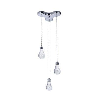 Pendente Bella Iluminação Bolha Triplo Metal Cromo Acrílico 15x28cm 3 LED 110v 220v Bivolt HO073P Sala Estar Cozinhas