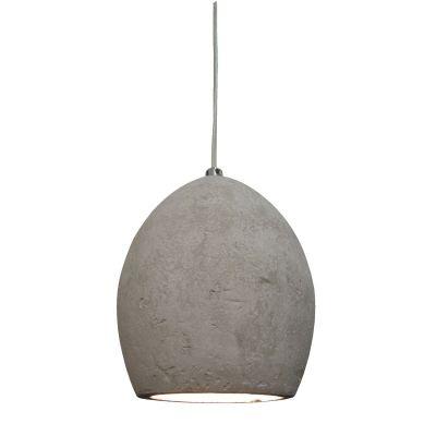 Pendente Bella Iluminação Cemento Oval Concreto Cinza Suspenso 18x15cm 1 E27 110v 220v Bivolt ID005 Balcões Sala Estar