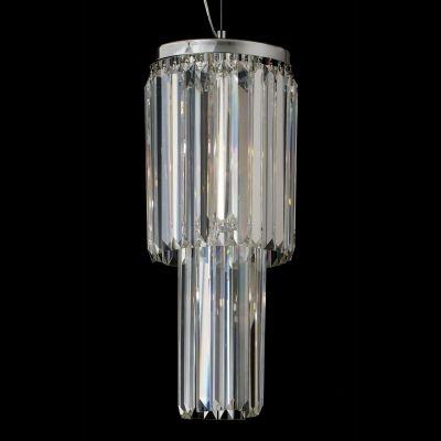 Pendente Bella Iluminação Charm Cristal K9 Lapidado Translucido 58x25cm 3 G9 Halopin 110v 220v Bivolt HU2158 Sala Estar Saguão