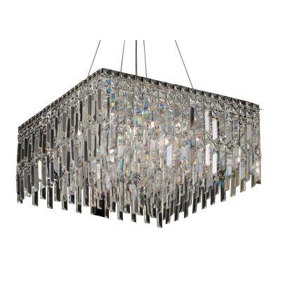 Pendente Bella Iluminação Charm Quadrado Cristal K9 Translucido 26x58cm 13 G9 Halopin 110v 220v Bivolt HU2157 Sala Estar Hall