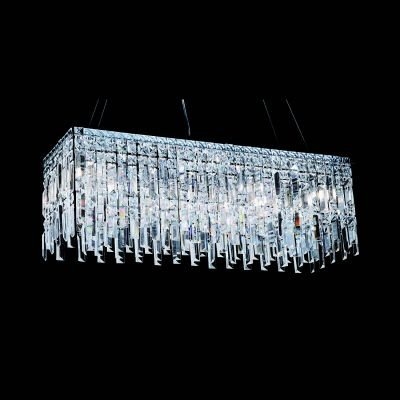 Pendente Bella Iluminação Charm Retangular Cristal K9 Translucido 26x80cm 11 G9 Halopin HU2161 Sala Estar Saguão